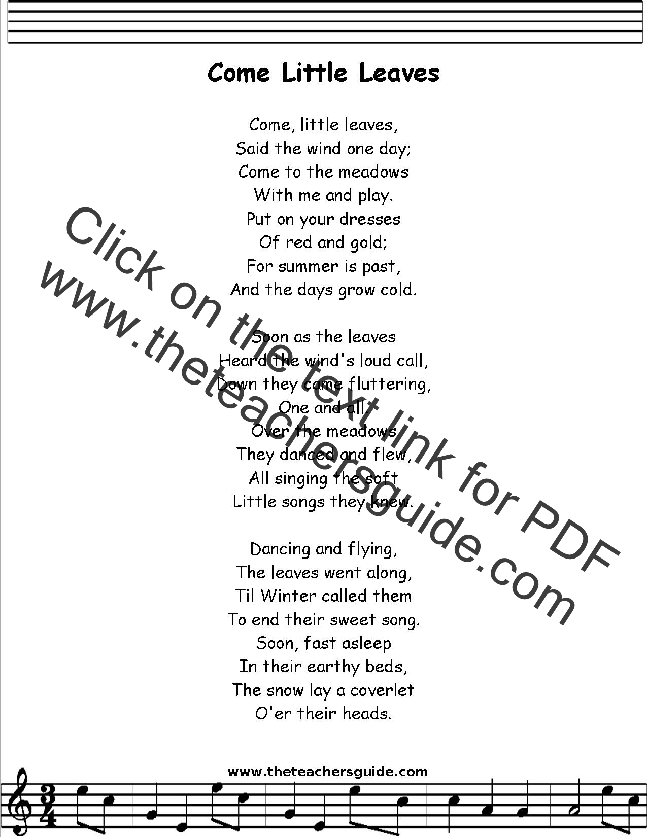 Come Little Leaves Lyrics, Printout, MIDI, and Video