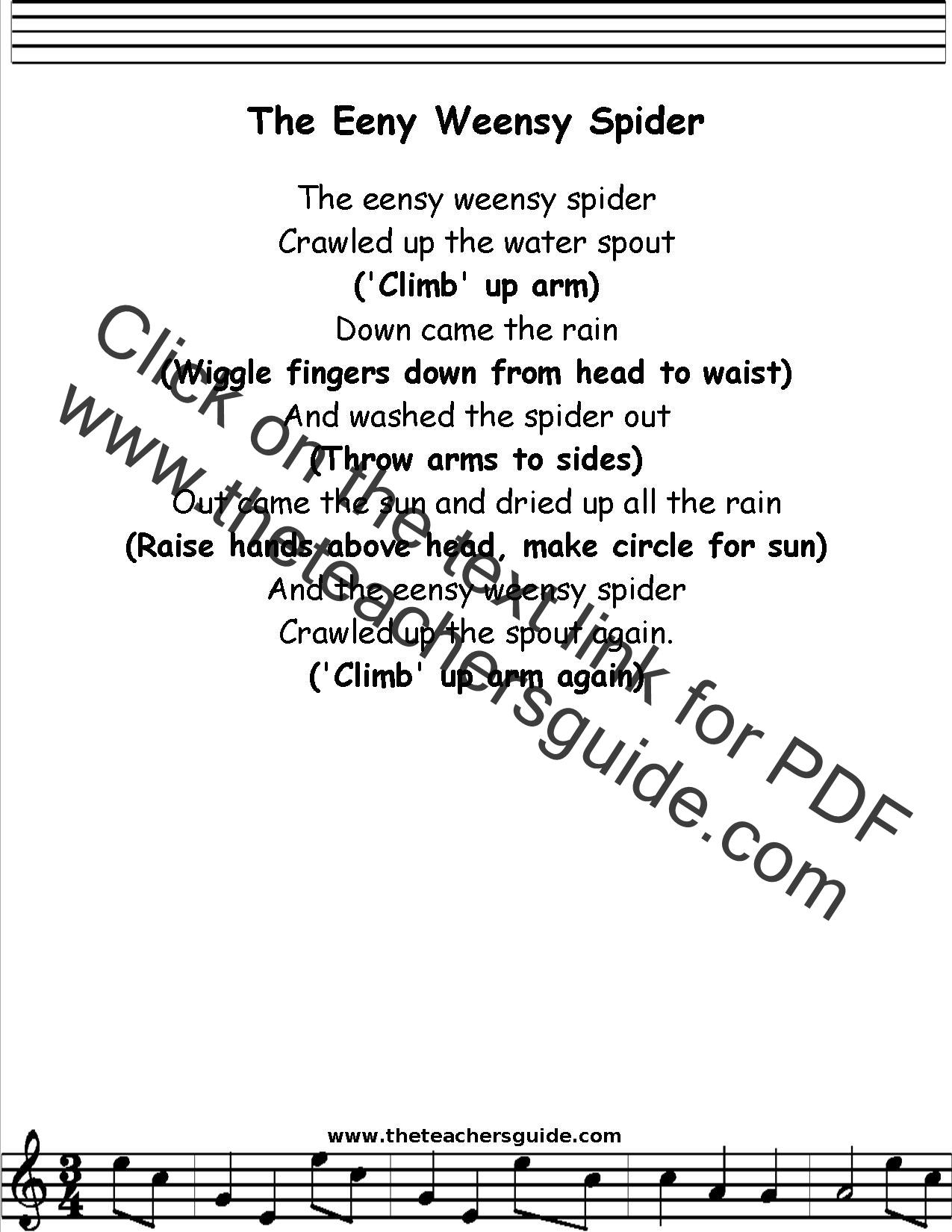 Eensy Weensy Spider Lyrics, Printout, MIDI, and Video