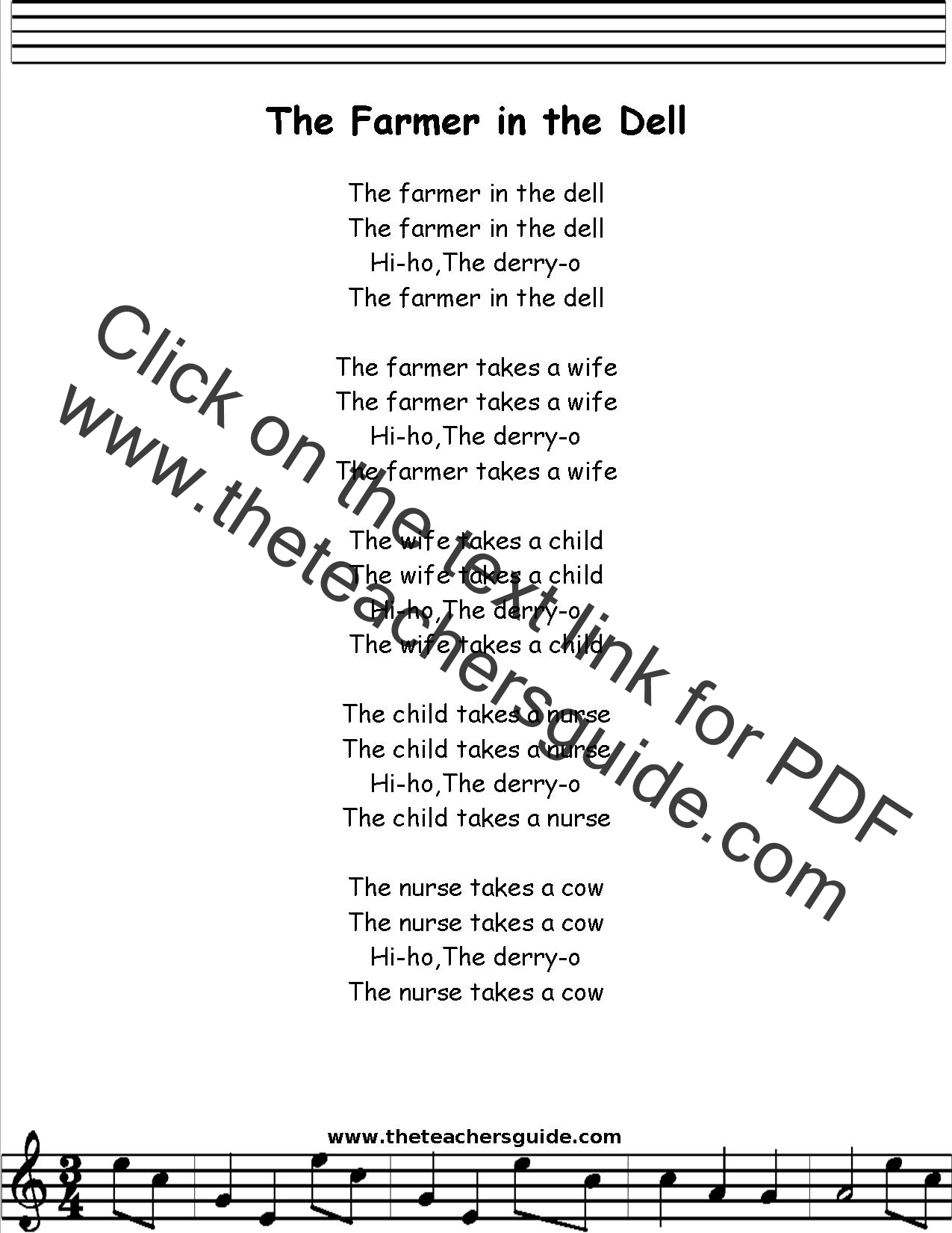 Farmer in the Dell Lyrics, Printout, MIDI, and Video