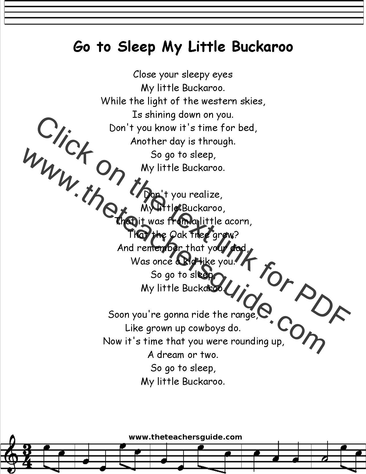 Go to Sleep My Little Buckaroo Lyrics Printout MIDI and Video