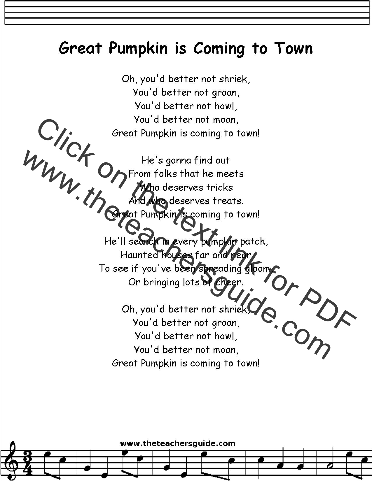 great pumpkin lyrics printout