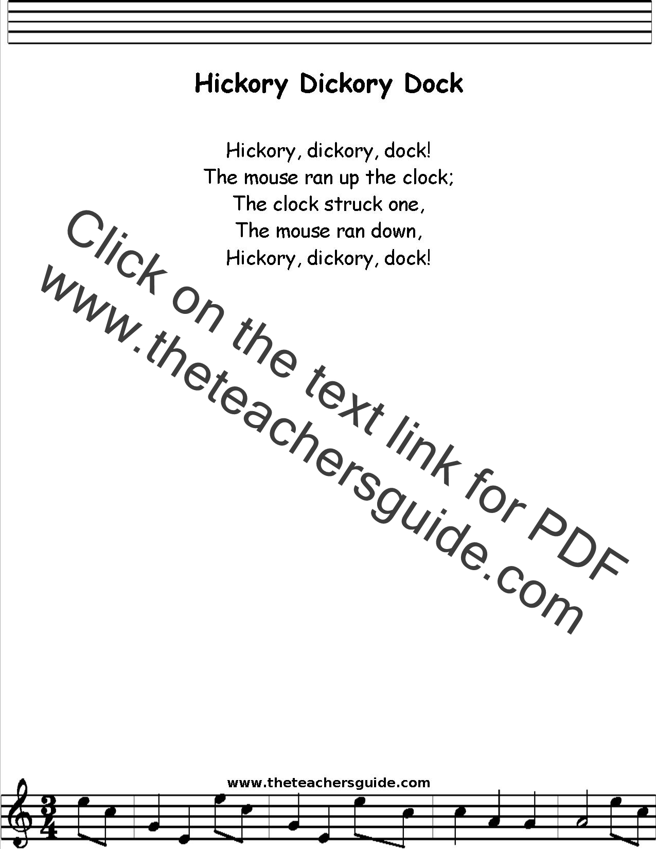 Hickory Dickory Dock Lyrics, Printout, MIDI, and Video