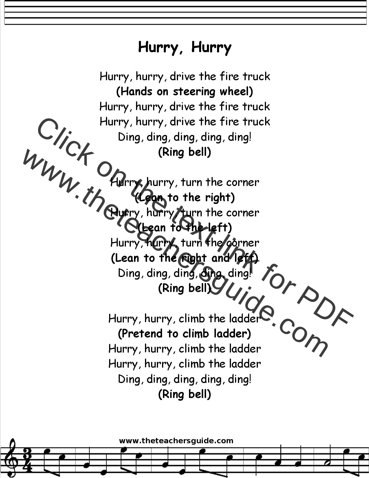 Hurry Hurry Drive the Truck Lyrics, Printout, MIDI, and Video
