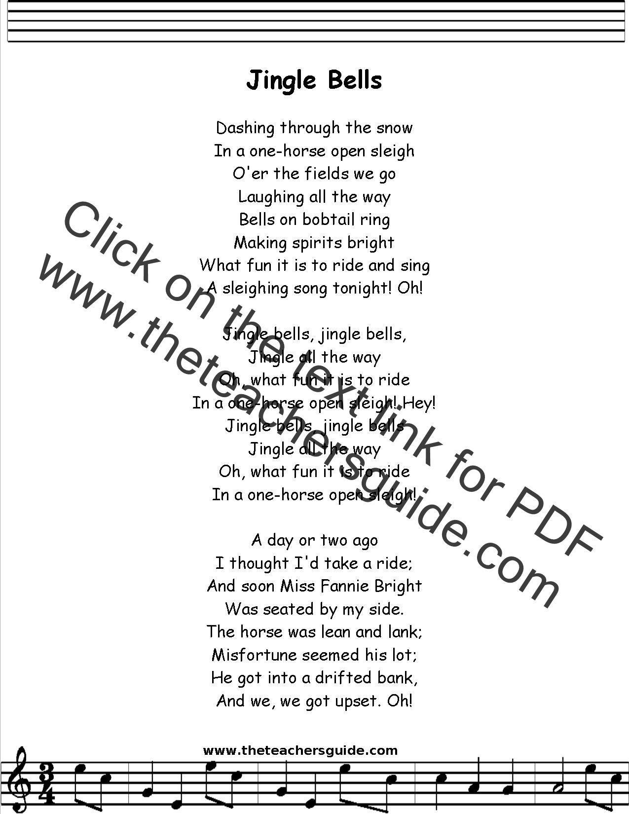 Jingle Bells Lyrics, Printout, MIDI, and Video