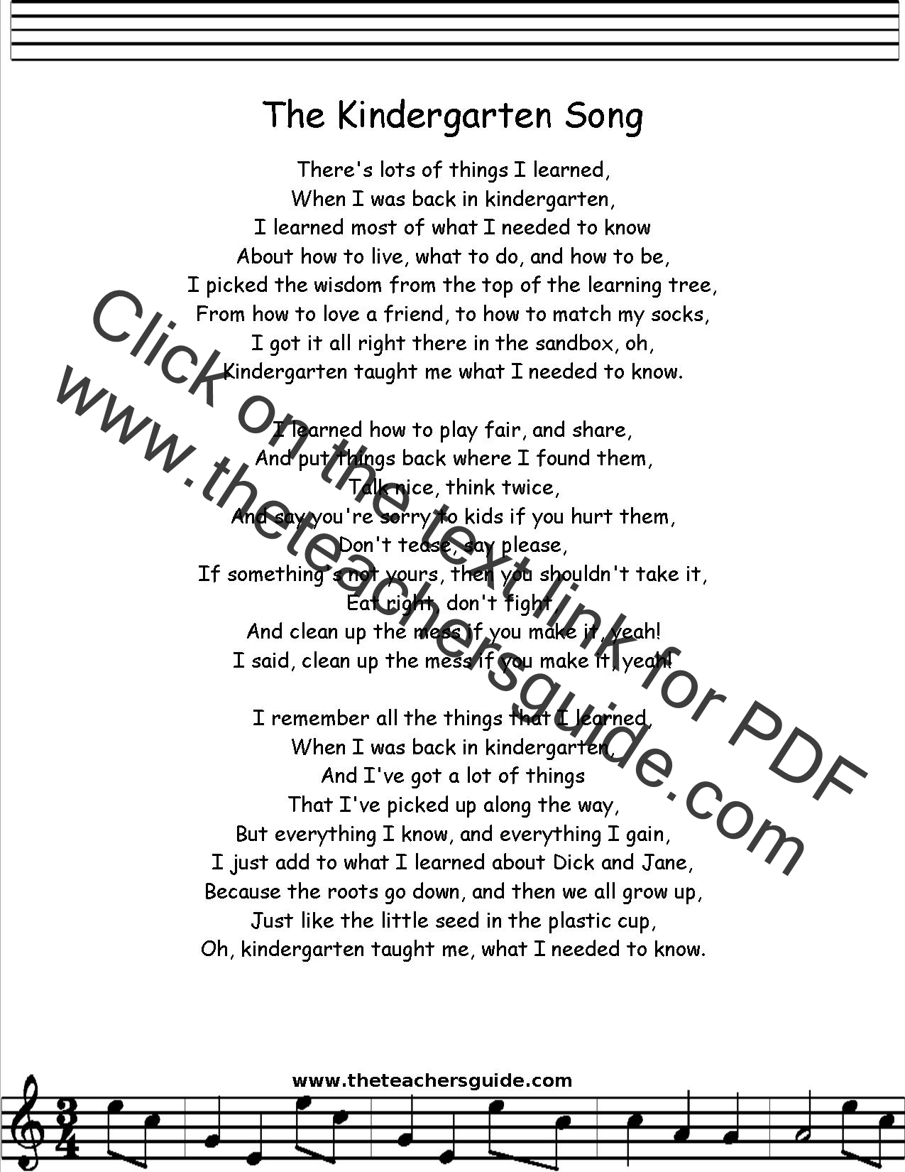 Kindergarten Song Lyrics Printout