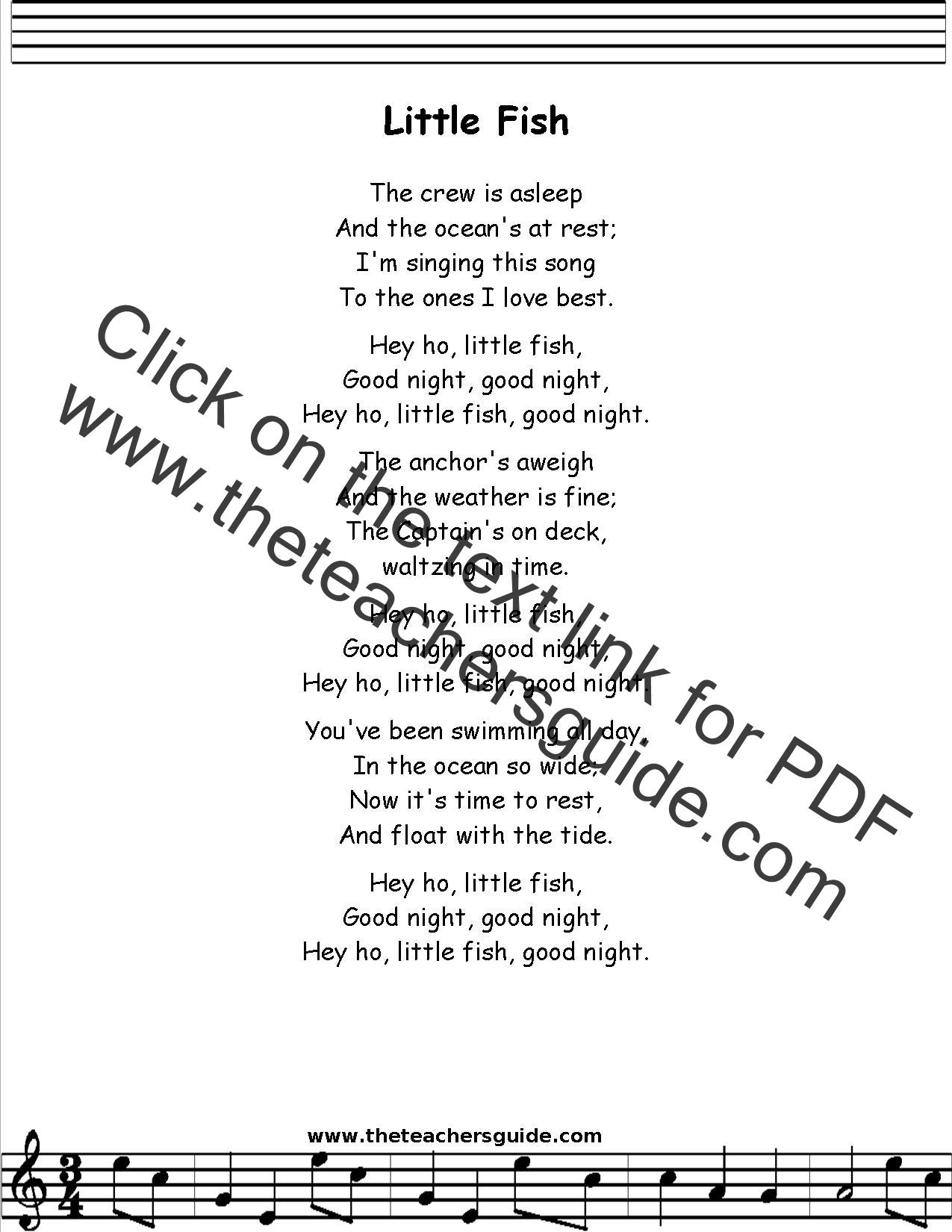 little fish lyrics printout midi and video