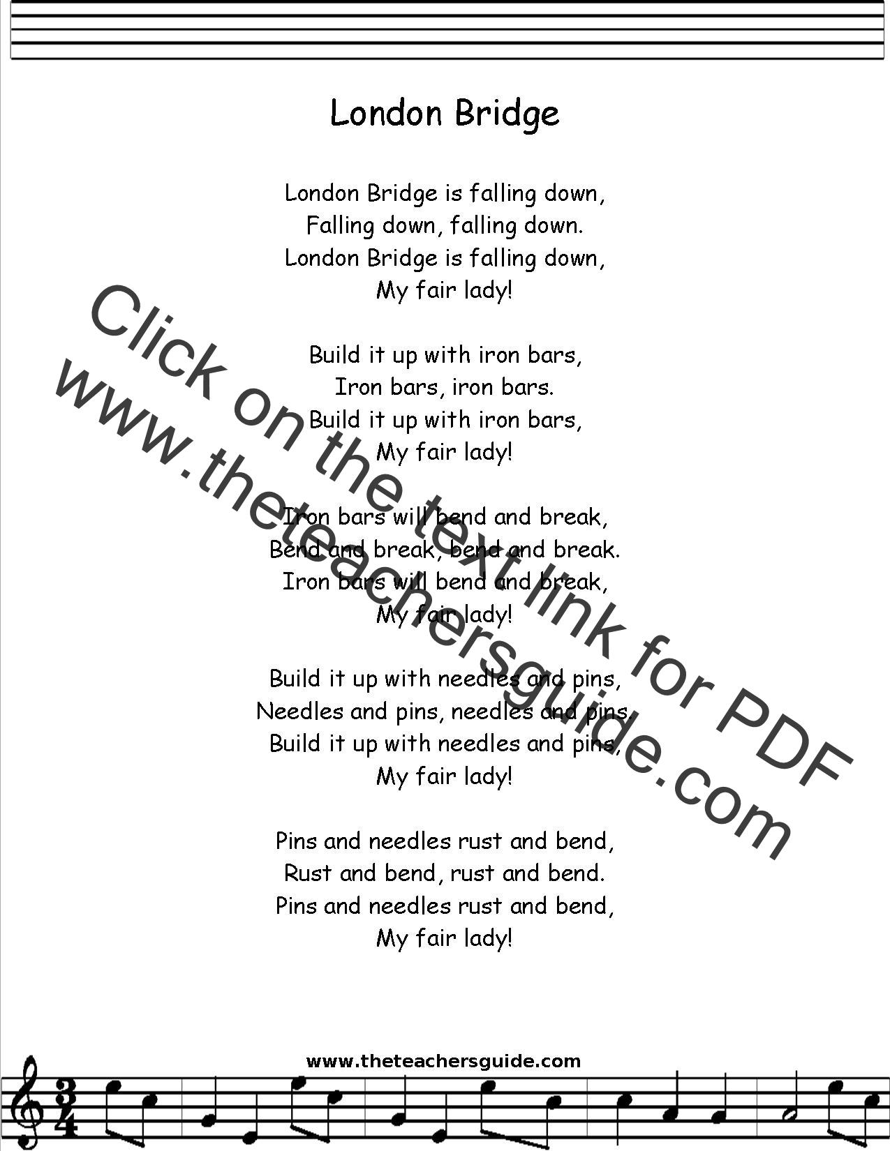 london bridge is falling down lyrics