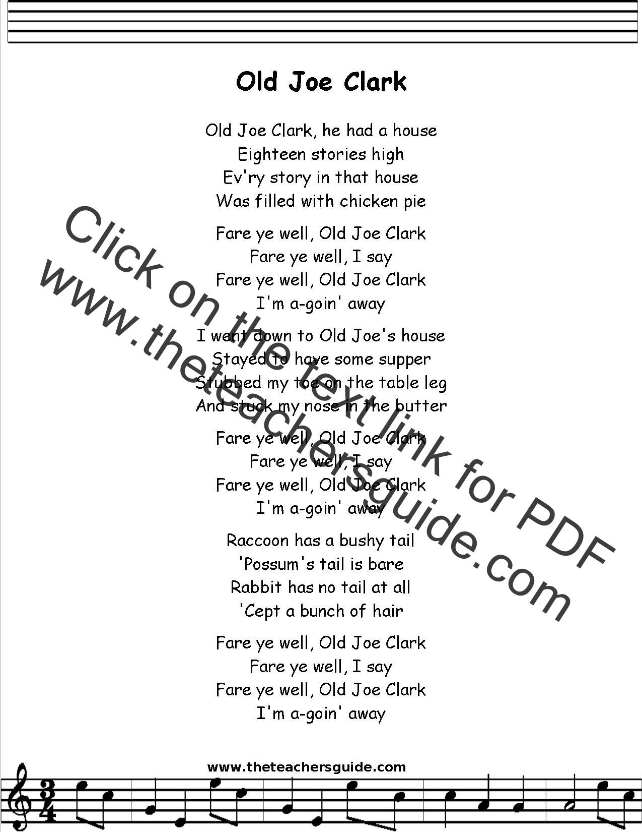 Old Joe Clark Lyrics Printout Midi And Video