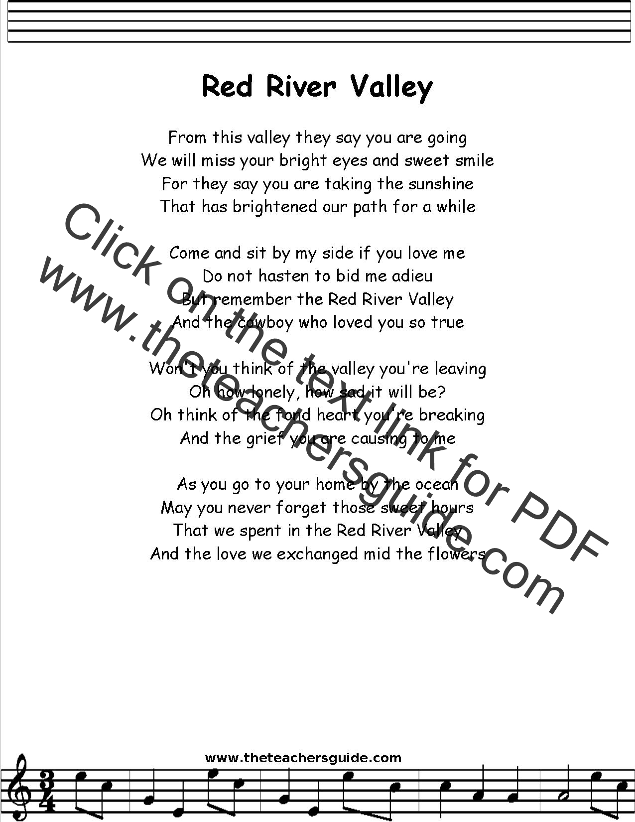 Red river valley lyrics printout midi and video