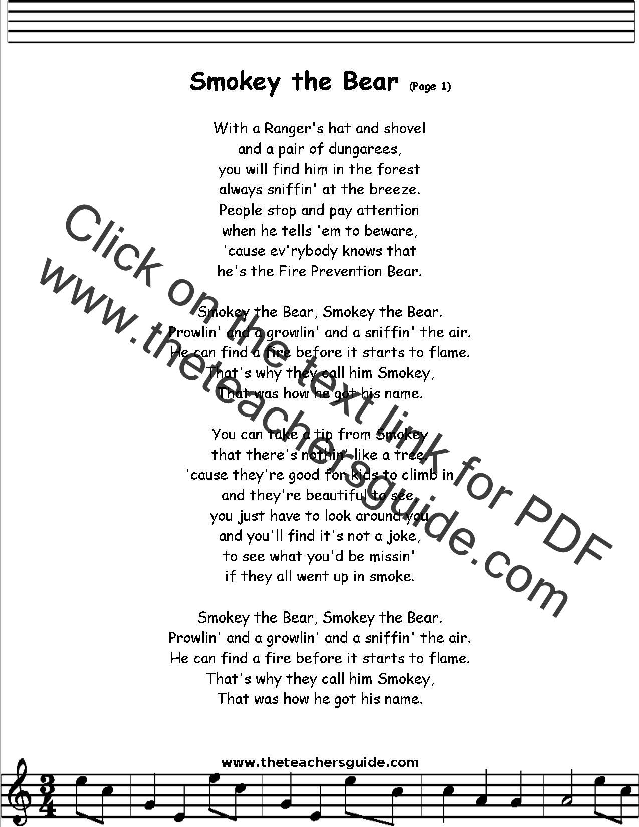 Smokey Bear Song For Kids