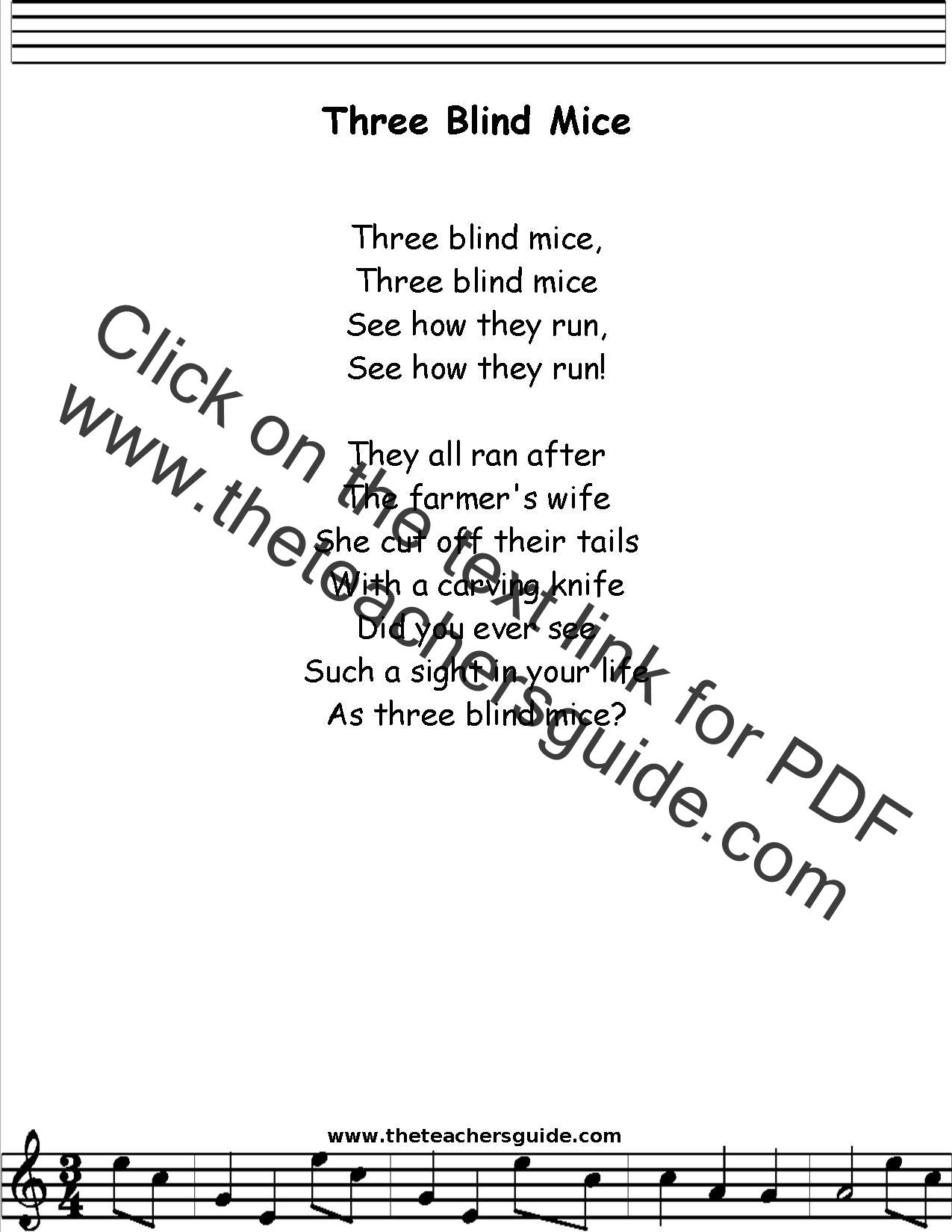 Three Blind Mice lyrics printout
