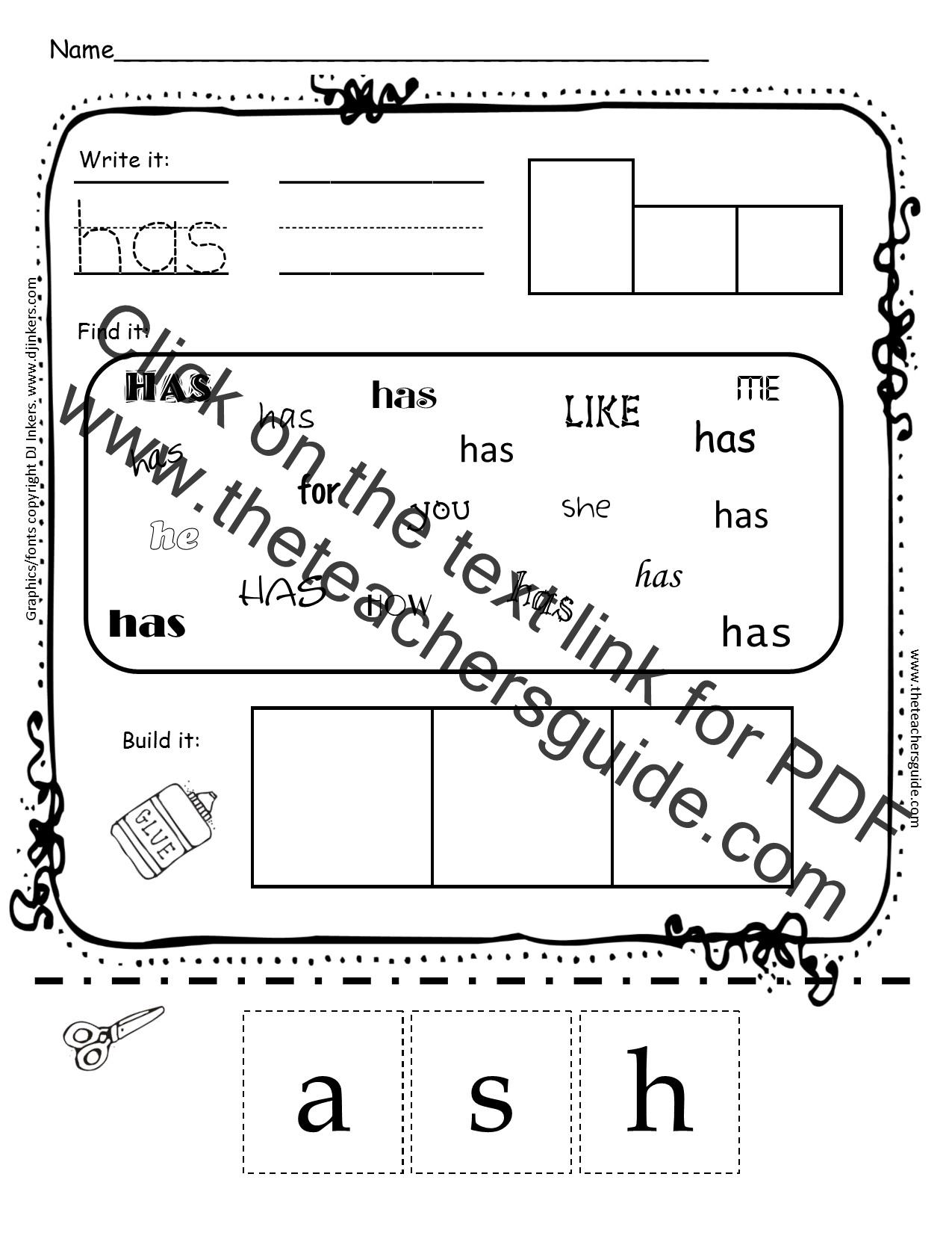 Kinder Garden: Kindergarten Sight Word Printouts From The Teacher's Guide