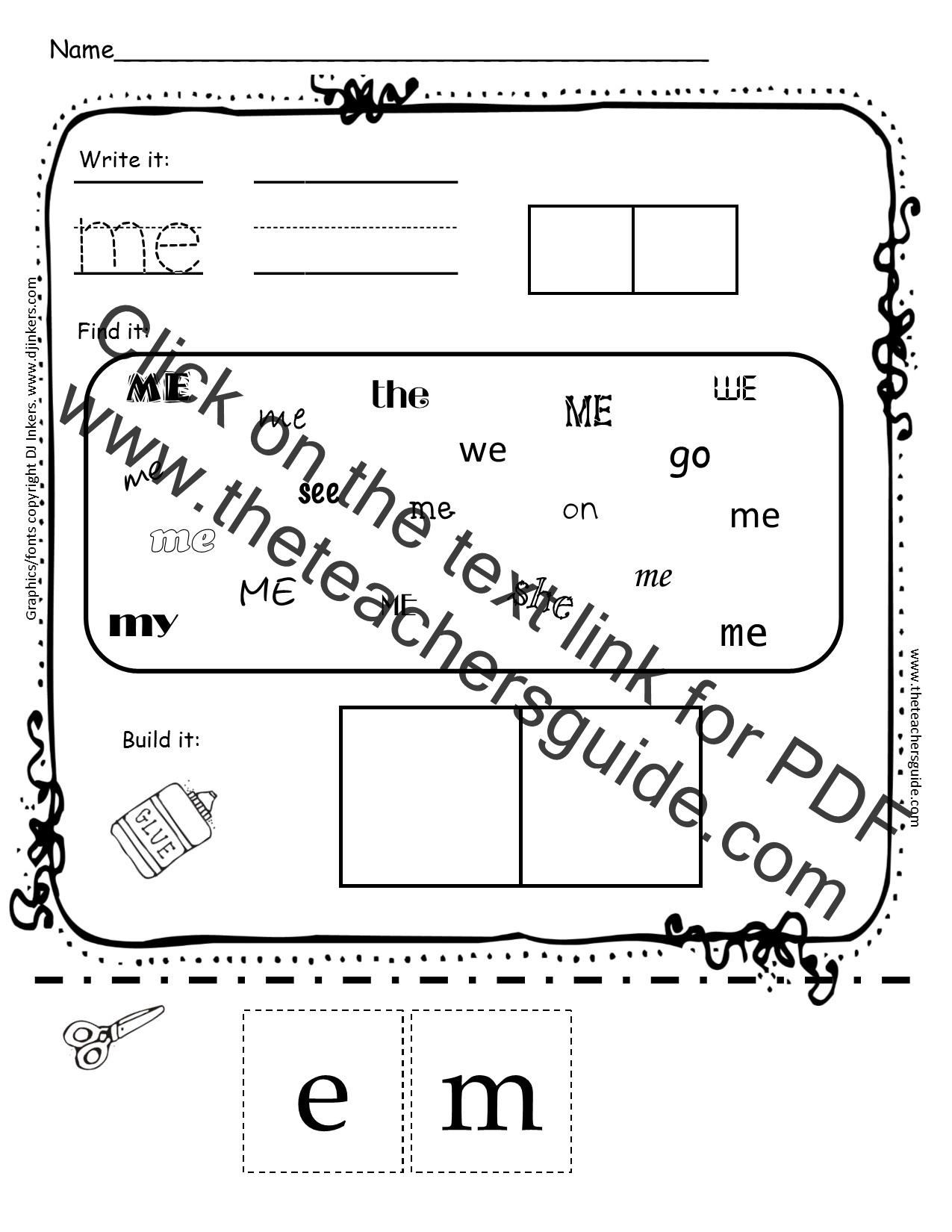 kindergarten sight word printouts from the teacher u0026 39 s guide