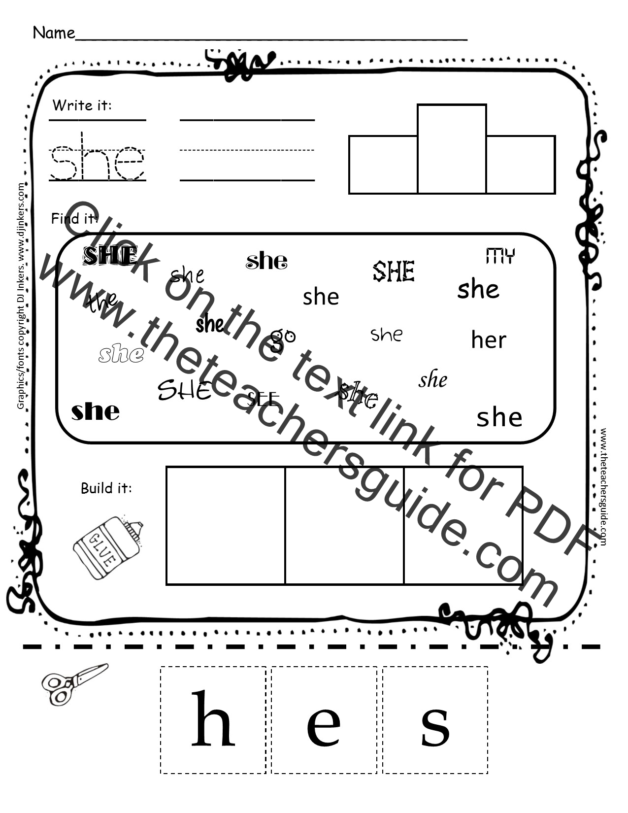 Kindergarten Sight Word Printouts From The Teacher 39 S Guide