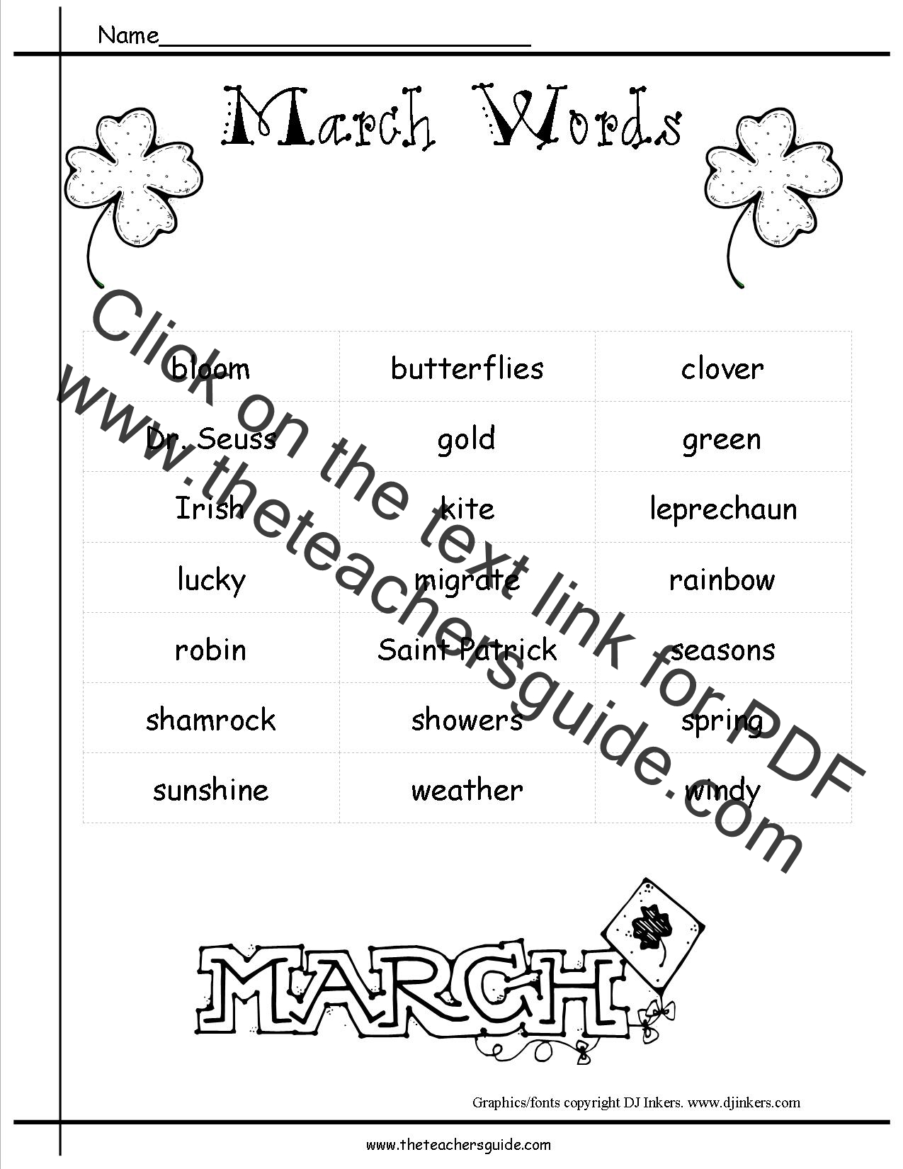 March Lesson Plans, Themes, Holidays, and Printouts