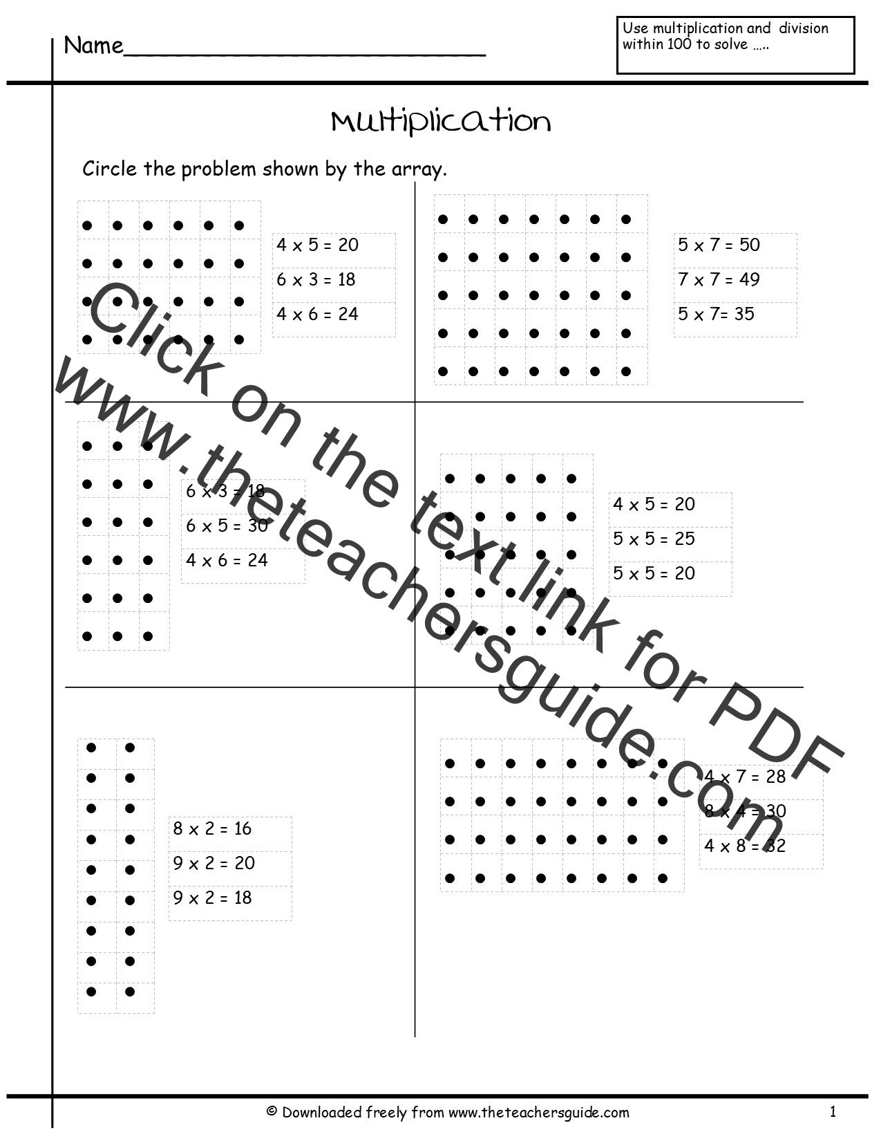 Multiplication Array Worksheets from The Teachers Guide – Multiplication Array Worksheets 3rd Grade