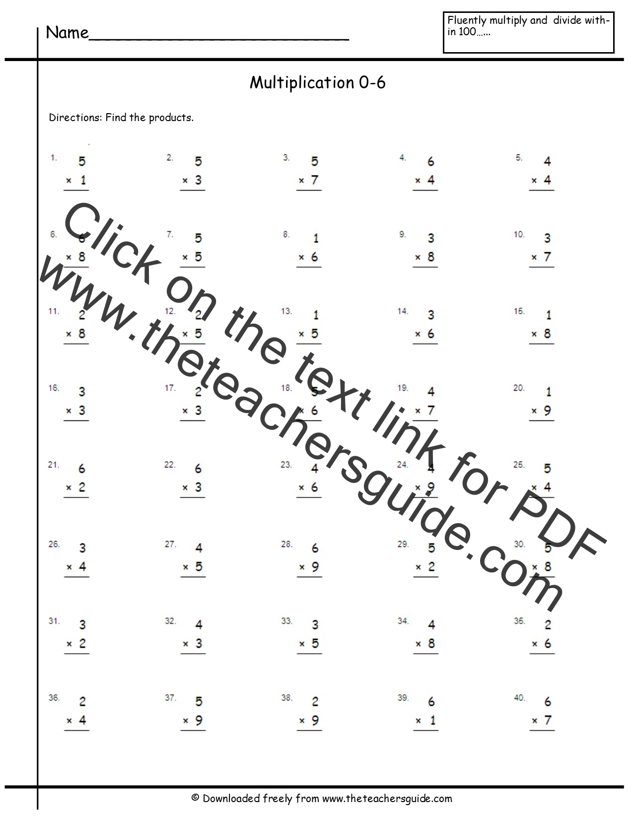 math worksheet : multiplication facts worksheets from the teacher s guide : 0 3 Multiplication Worksheets