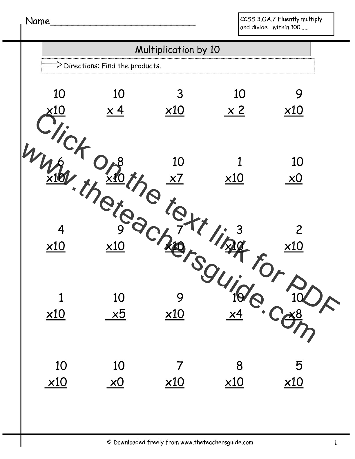 multiplication facts worksheets from the teacher 39 s guide. Black Bedroom Furniture Sets. Home Design Ideas