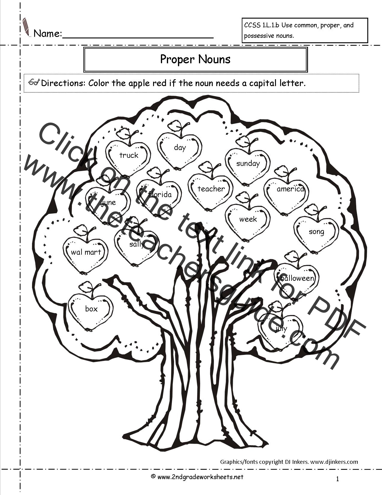 Common and Proper Nouns Worksheets from The Teachers Guide – Nouns Worksheets