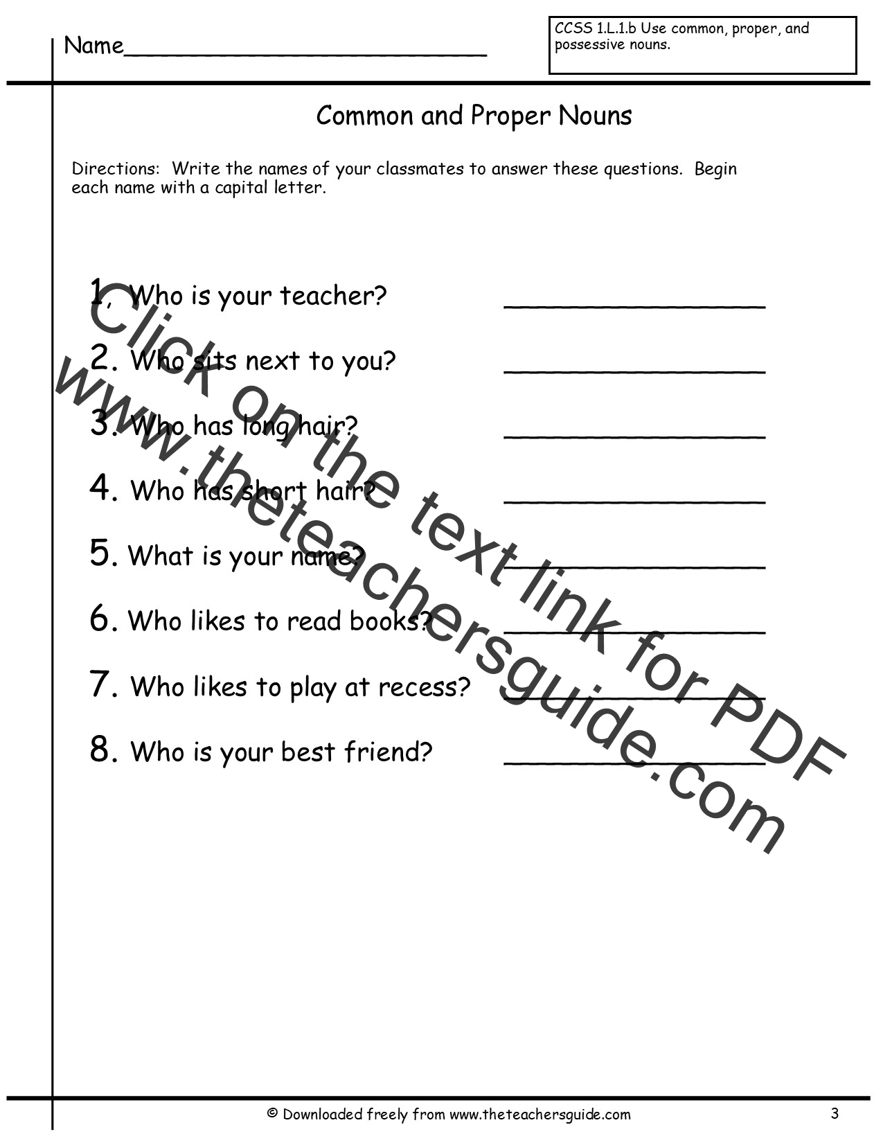 Printables Noun Worksheets 2nd Grade common and proper nouns worksheets from the teachers guide worksheet