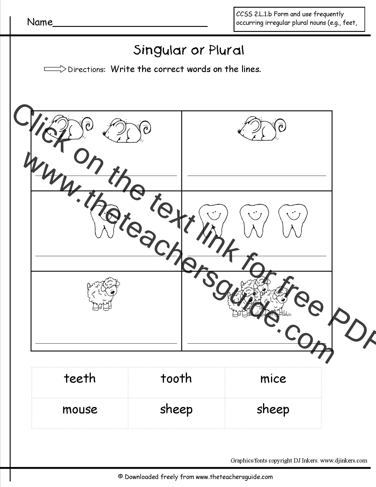 Singular and Plural Nouns Worksheets from The Teachers Guide – Nouns Worksheets