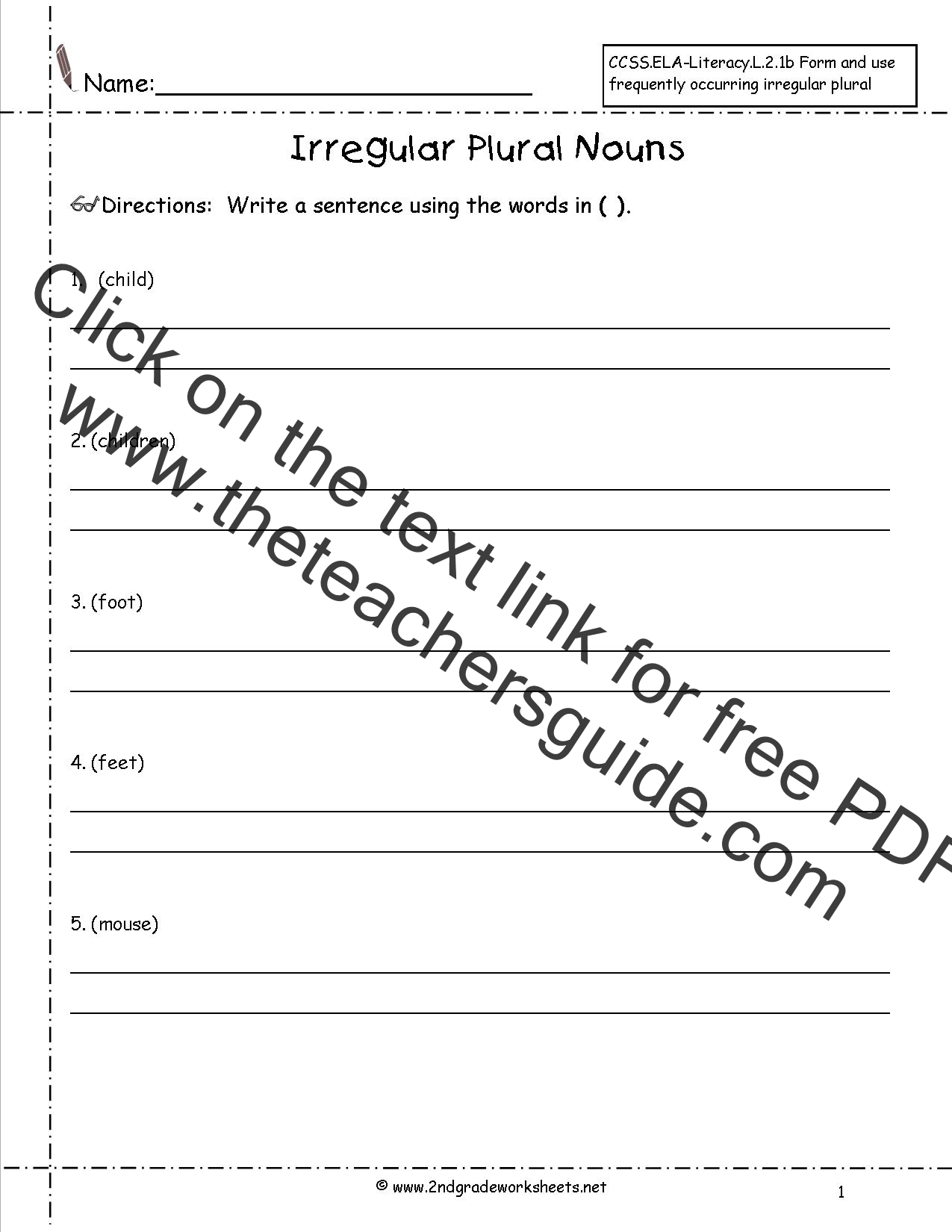 Singular and Plural Nouns Worksheets from The Teachers Guide – Noun Worksheets 4th Grade