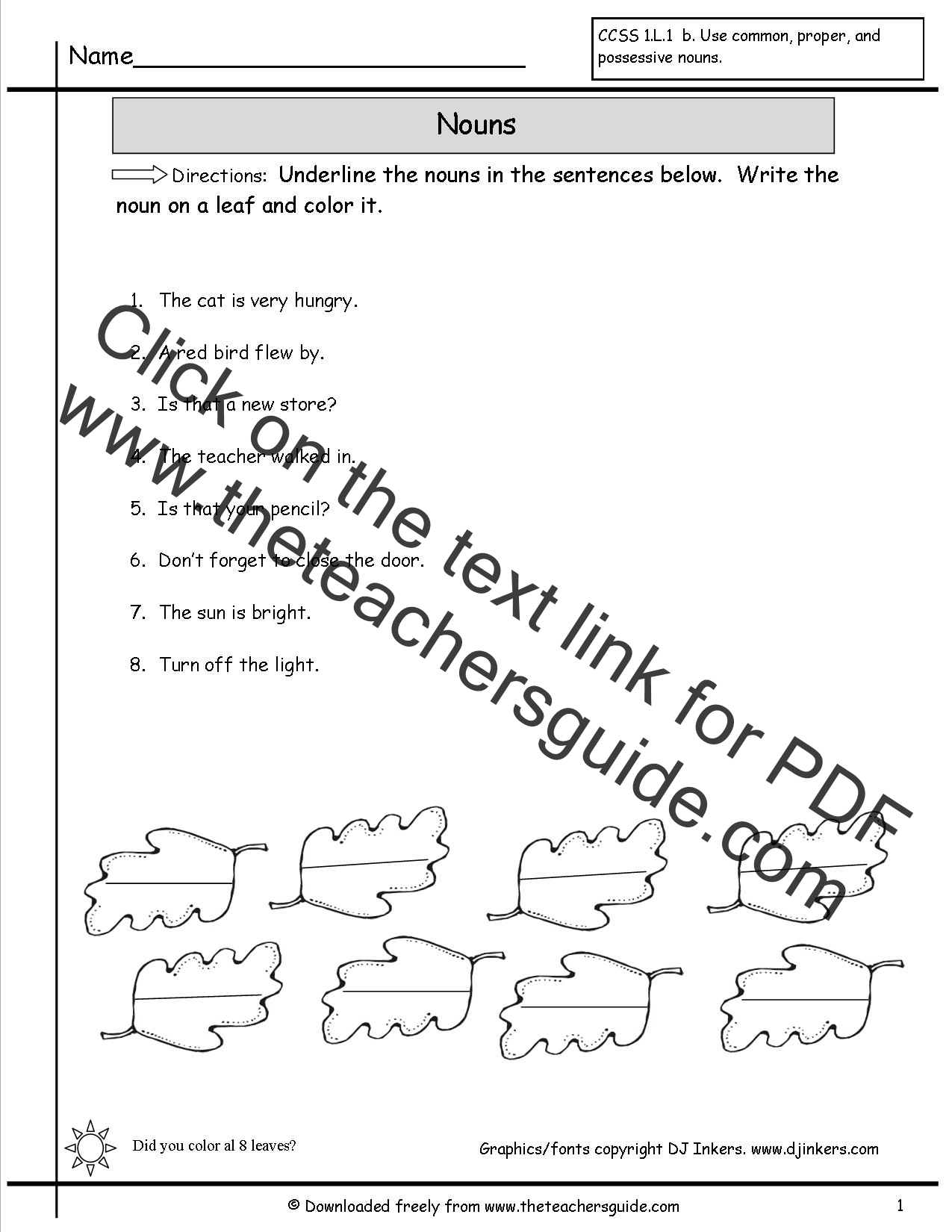 Worksheets Noun Worksheets For Kindergarten nouns worksheets from the teachers guide color leaves worksheet