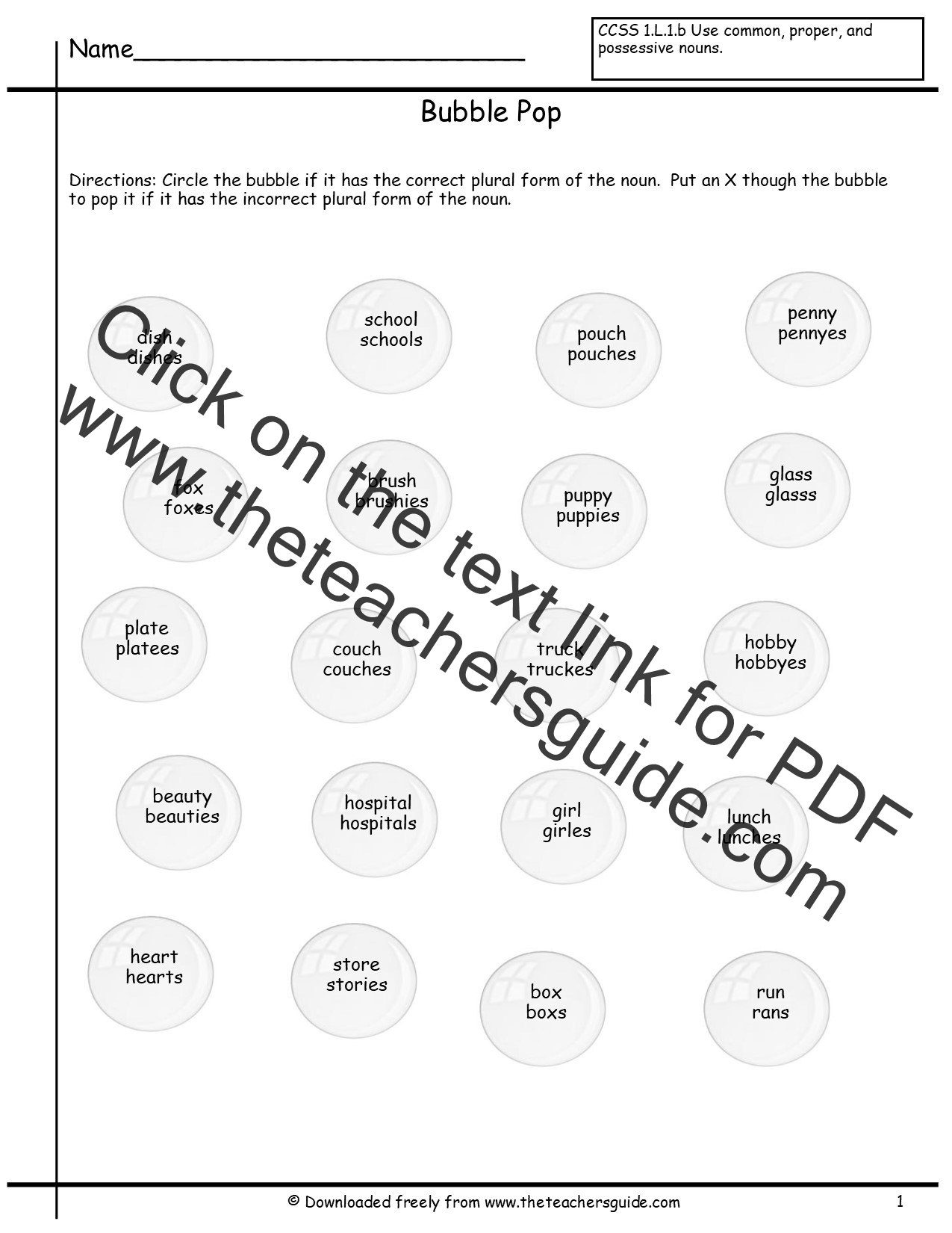 Singular and Plural Nouns Worksheets from The Teachers Guide – Singular and Plural Possessive Nouns Worksheet