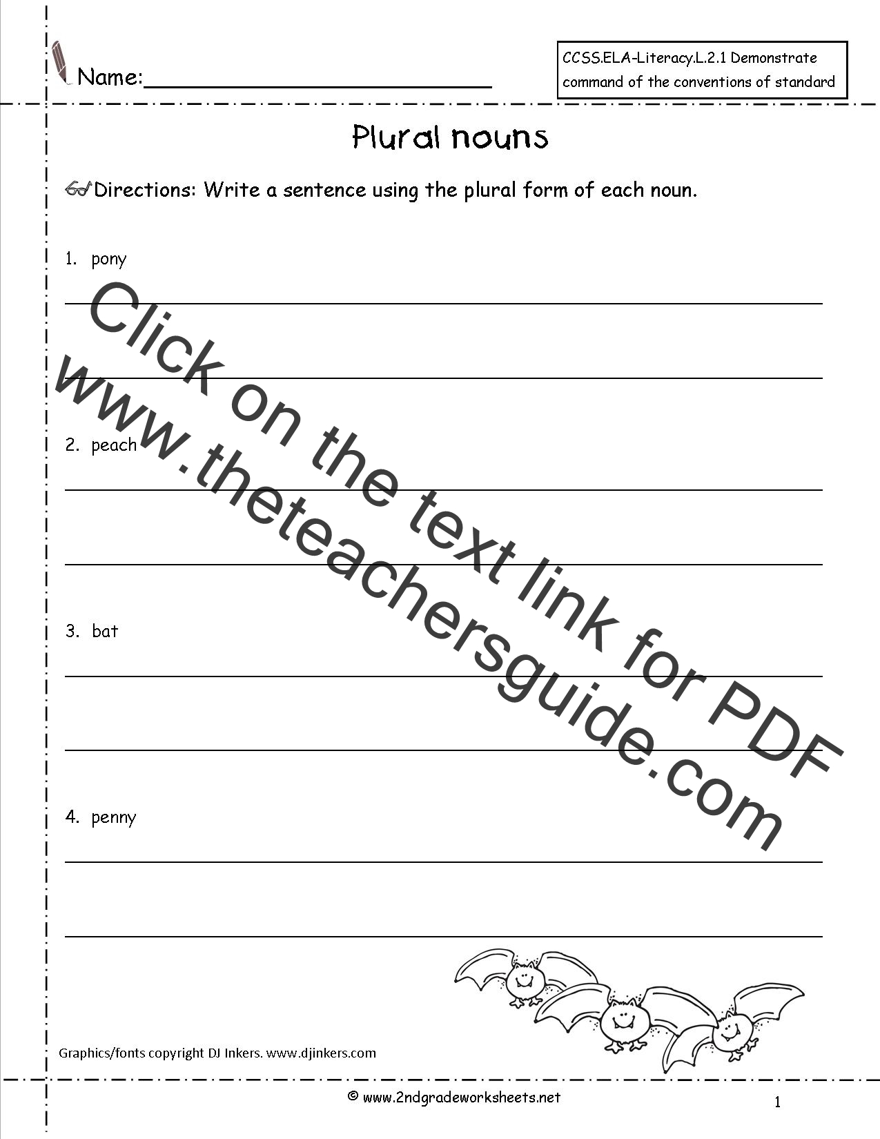 Singular and Plural Nouns Worksheets from The Teacher\'s Guide