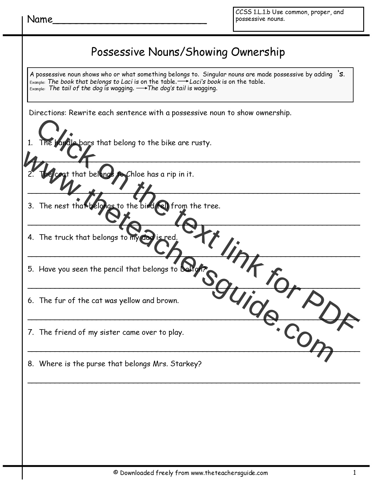Possessive Nouns Worksheets from The Teachers Guide – Nouns Worksheets