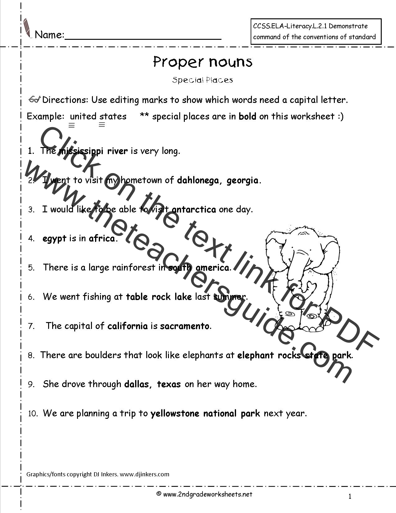 Printables Common And Proper Nouns Worksheet common and proper nouns worksheets from the teachers guide worksheet