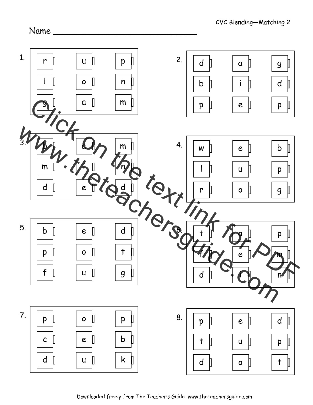 Free Phonics Printouts from The Teacher's Guide
