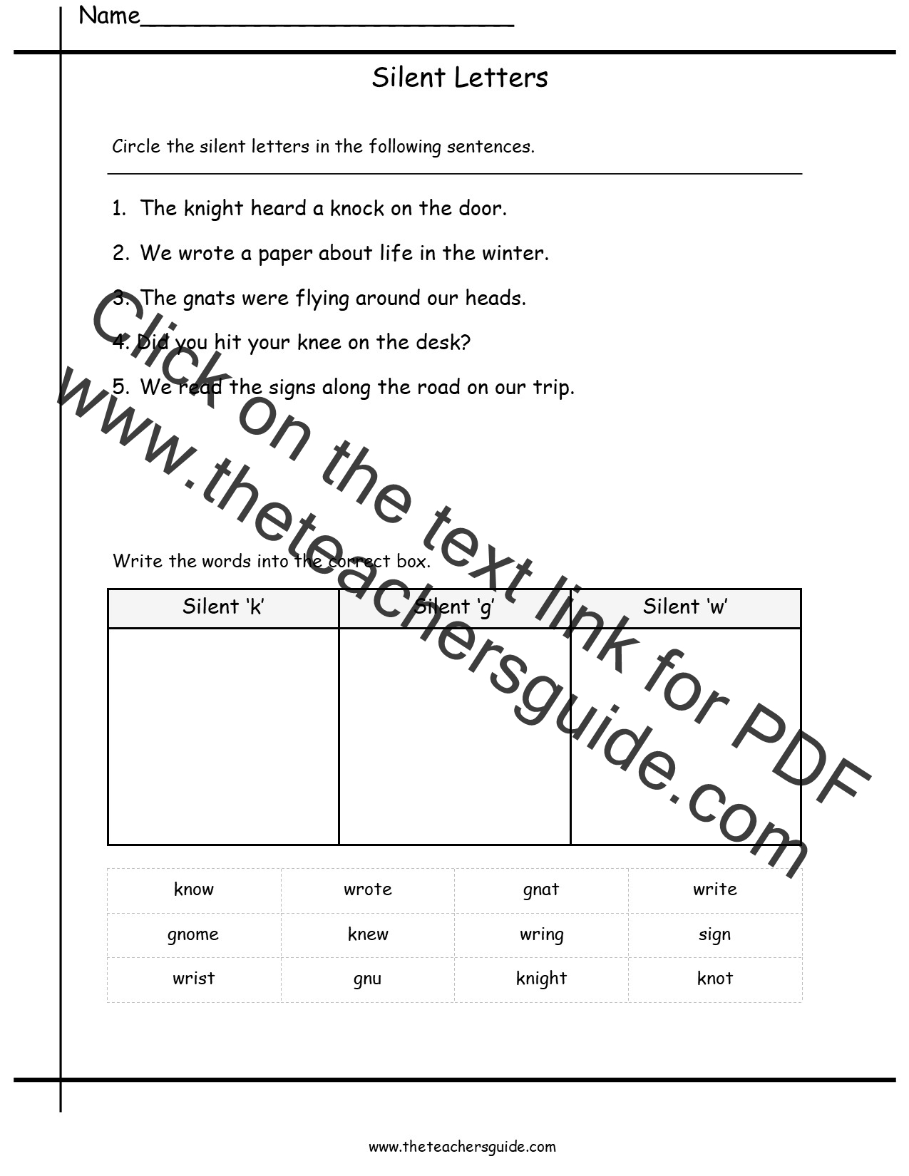 Free Phonics Printouts from The Teachers Guide – Silent Letters Worksheets