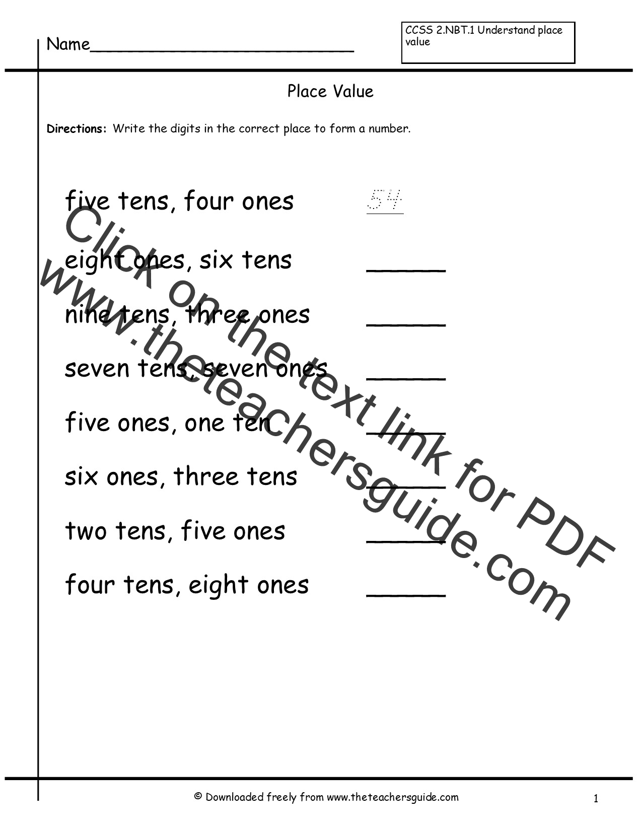 Place Value Worksheets from The Teachers Guide – Kindergarten Place Value Worksheets