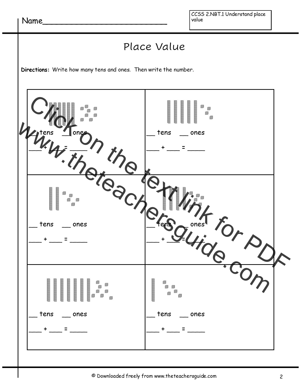 Place Value Worksheets from The Teachers Guide – Adding Tens and Ones Worksheets