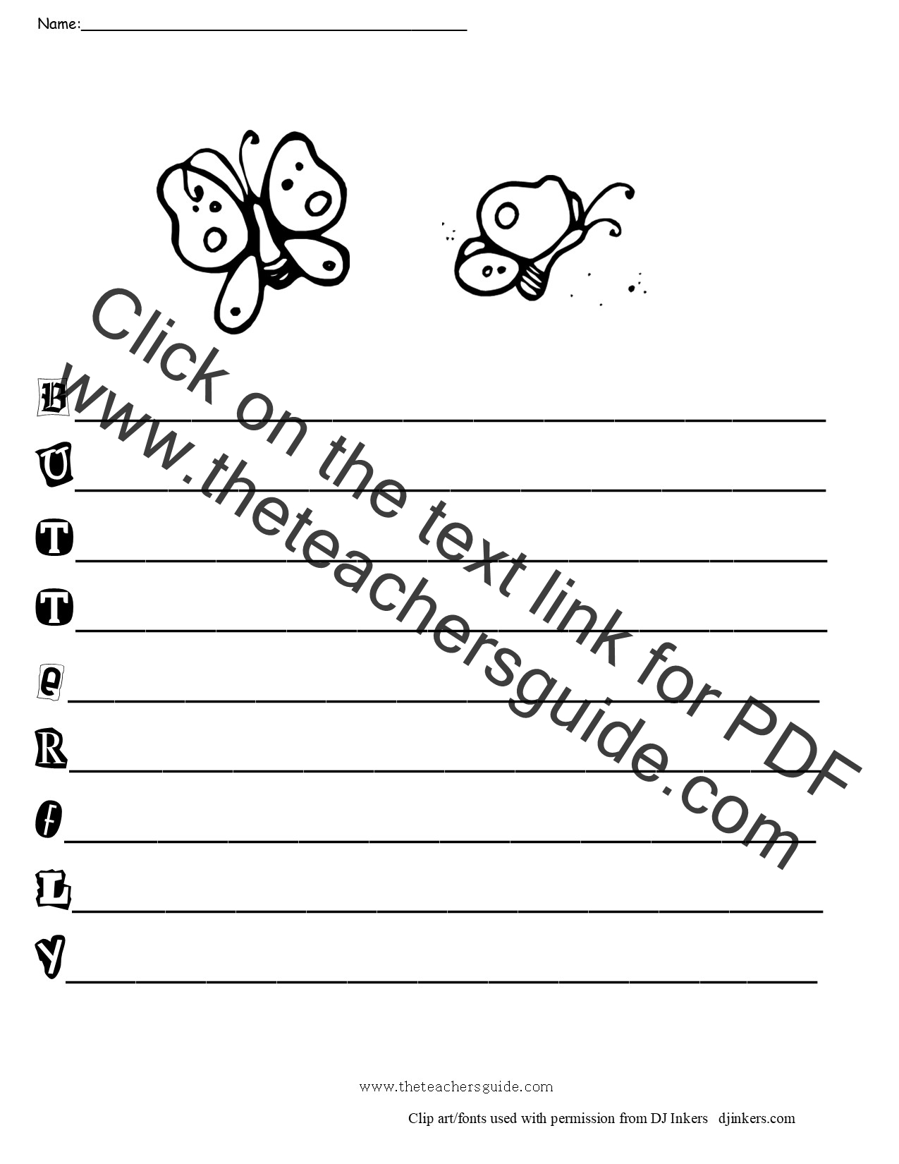 Printables Writing Poetry Worksheets free writing and language arts from the teachers guide butteflyacrosticpoemform poem forms