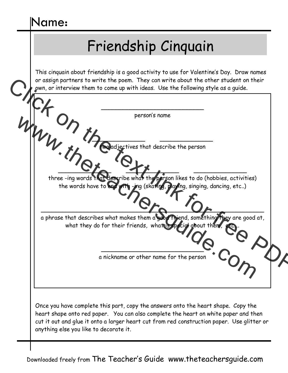 Cinquain Poems Worksheets from The Teacher\'s Guide