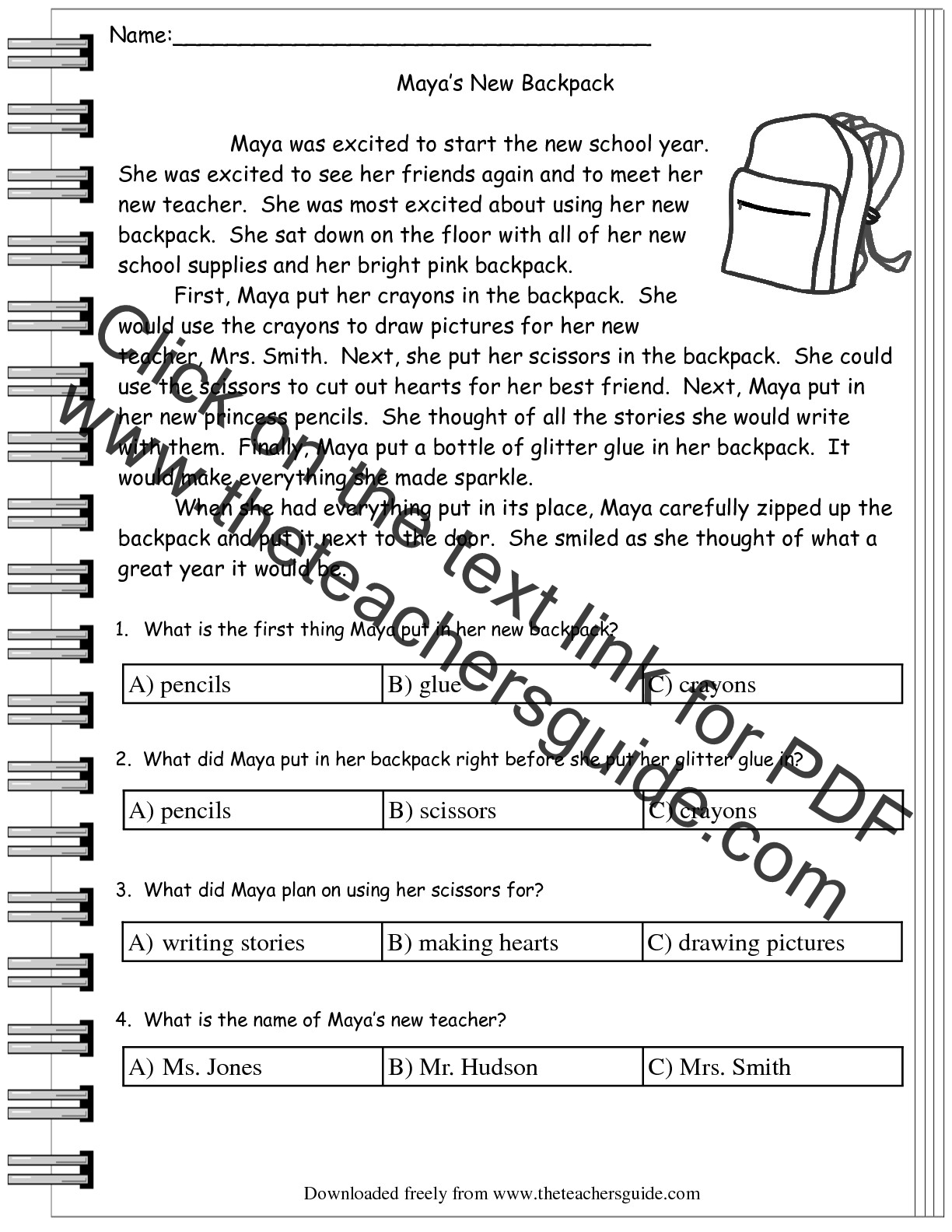 worksheet Free Reading Comprehension Worksheets For 1st Grade reading comprehension worksheets multiple choice free literature from the teachers guide
