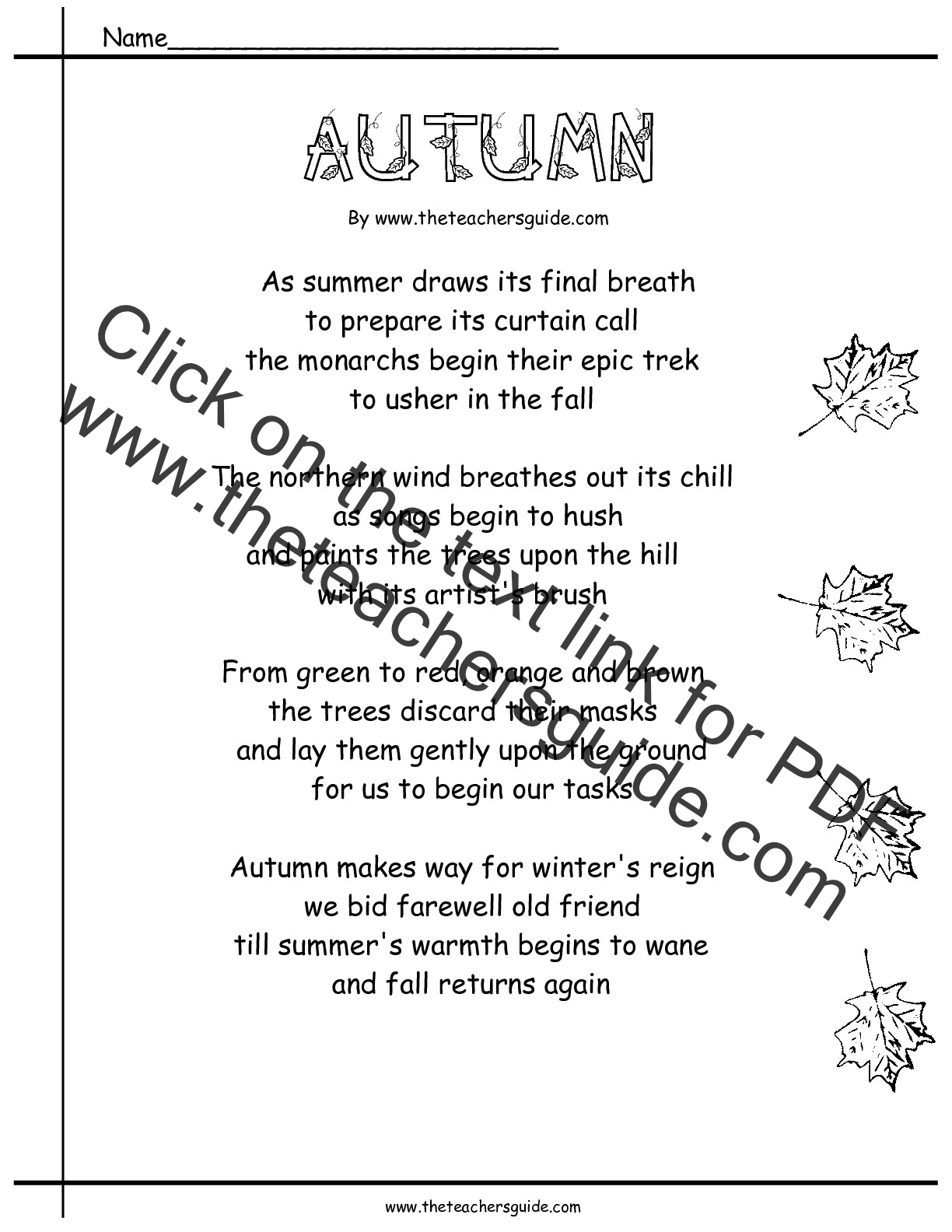 Worksheet Rhyming Questions poetry comprehension worksheets from the teachers guide autumn poem
