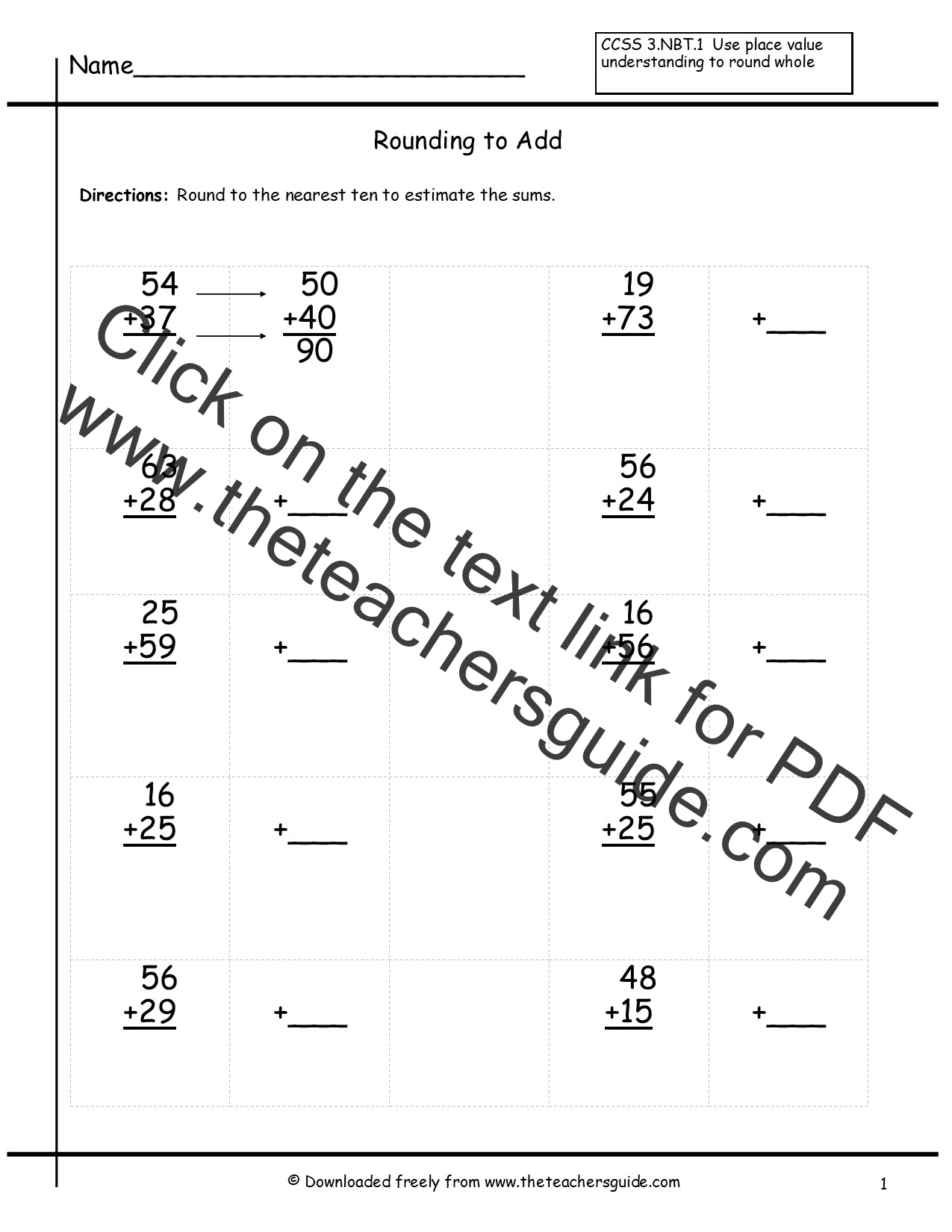 Rounding Whole Numbers Worksheets from The Teachers Guide – Rounding and Estimating Worksheets
