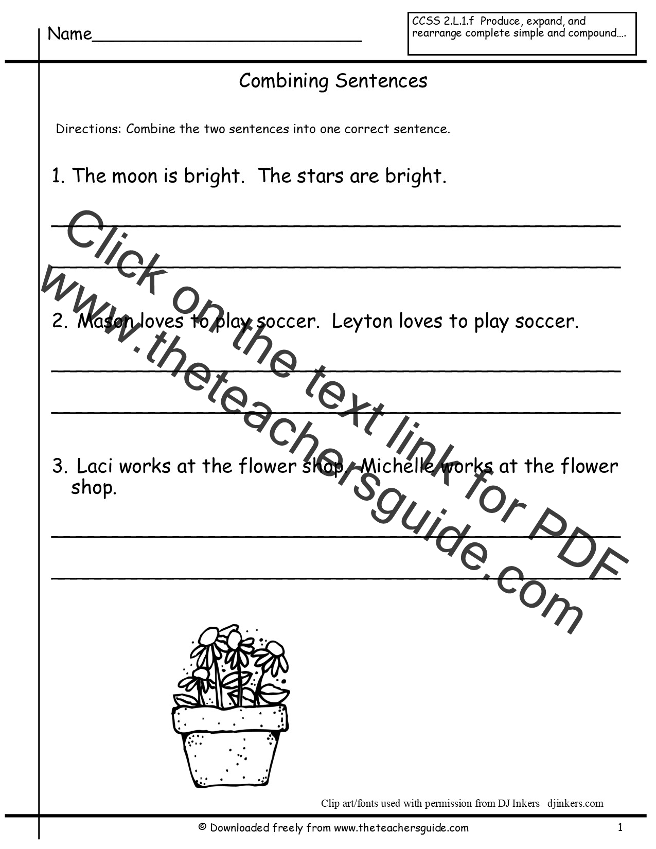 Writing Sentences Worksheets
