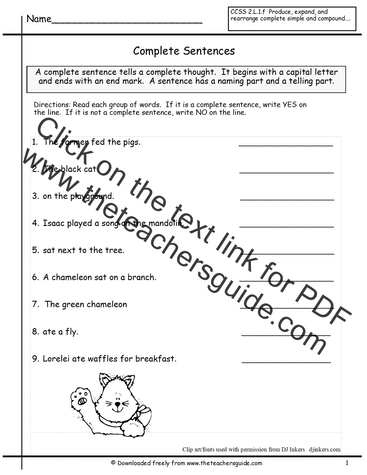Sentences Worksheets from The Teachers Guide – Writing Sentences Worksheets