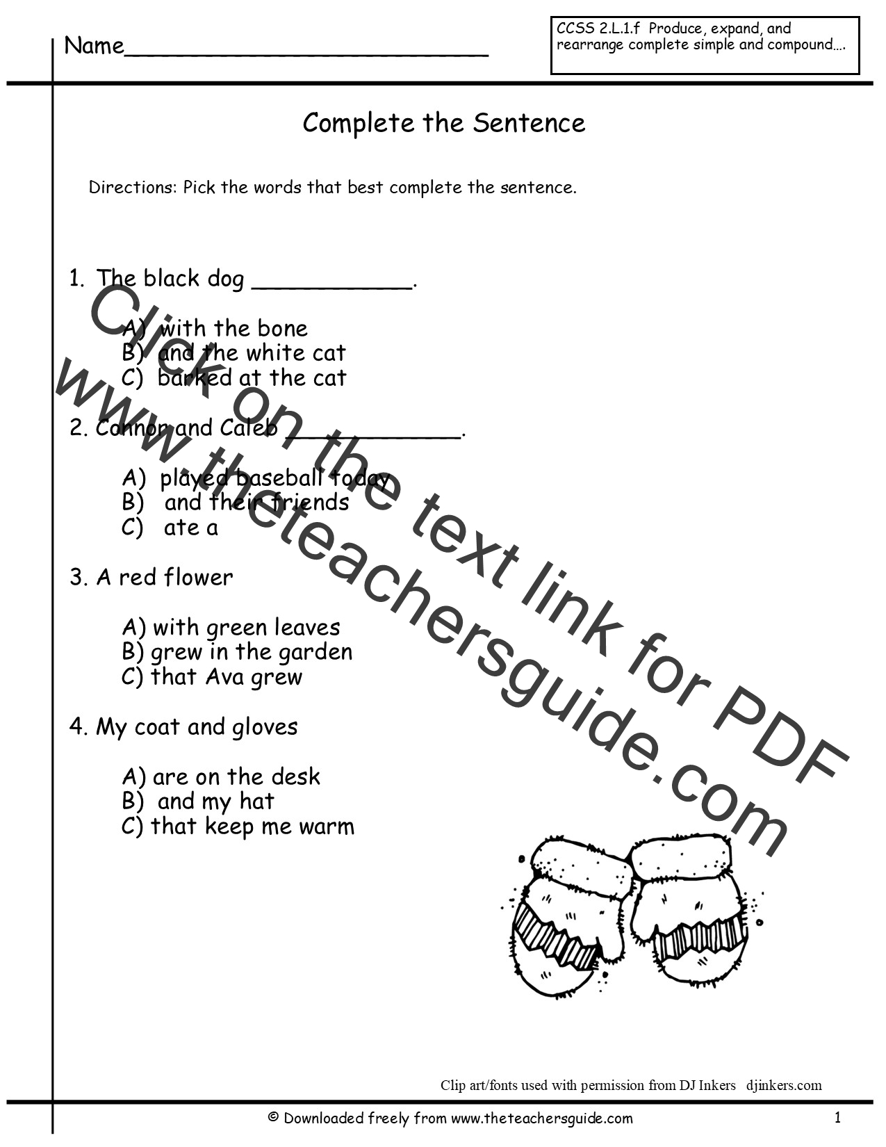 Sentences Worksheets from The Teachers Guide – Complete Sentence Worksheets