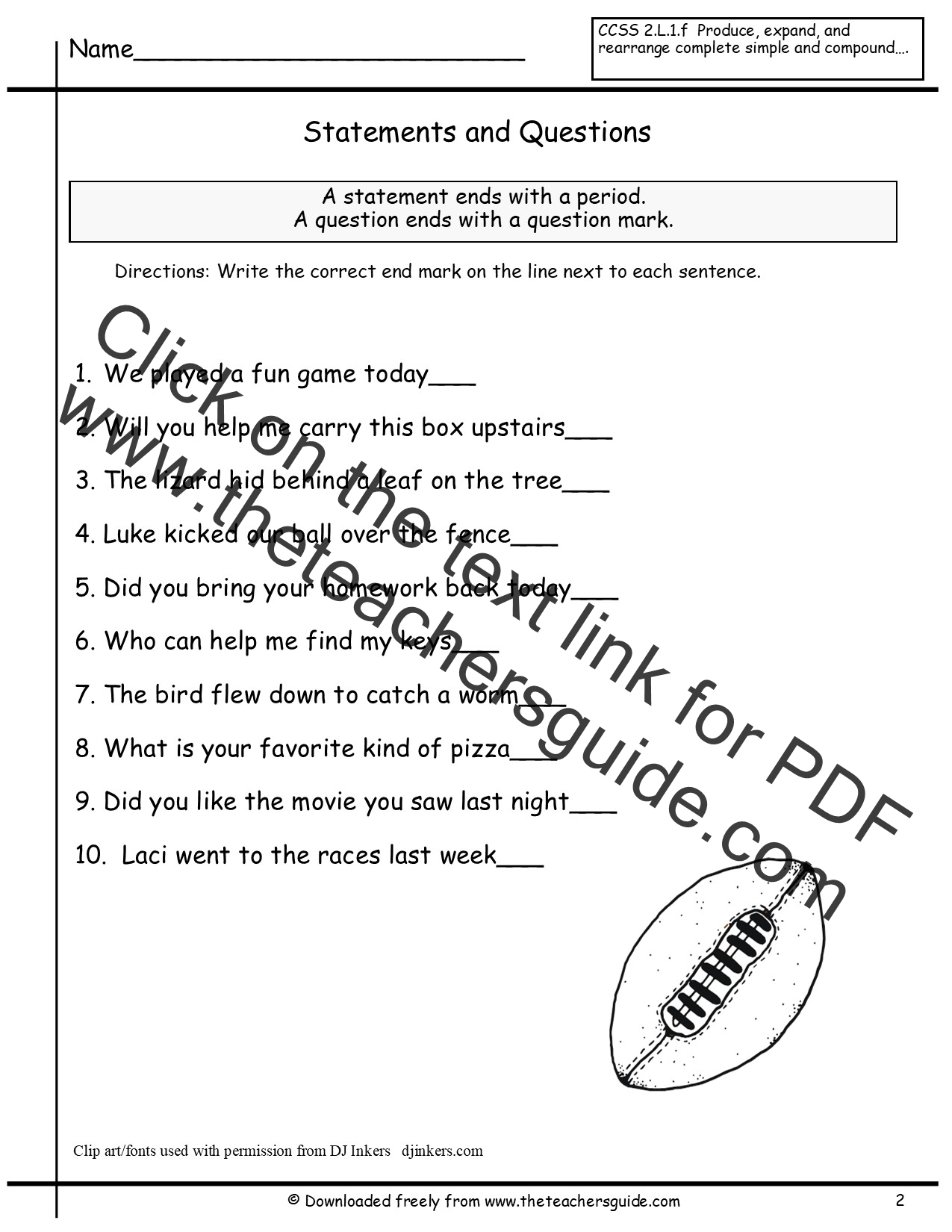 Sentences Worksheets from The Teachers Guide – I Statement Worksheets