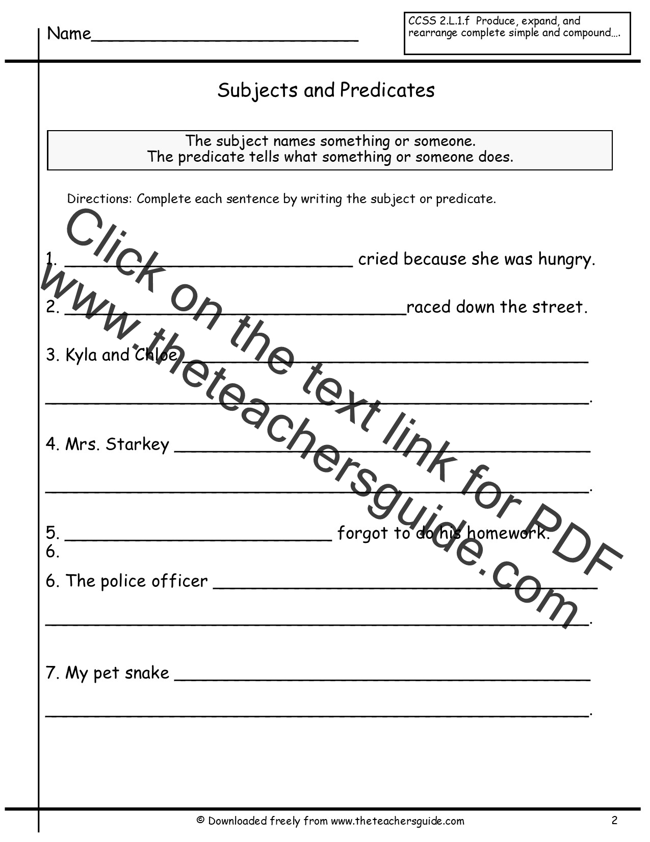 Sentences Worksheets From The Teachers Guide