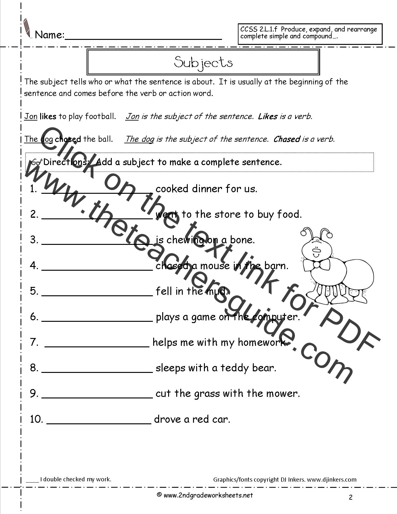 Printables Writing Complete Sentences Worksheet sentences worksheets from the teachers guide subjects worksheet sentence subjects