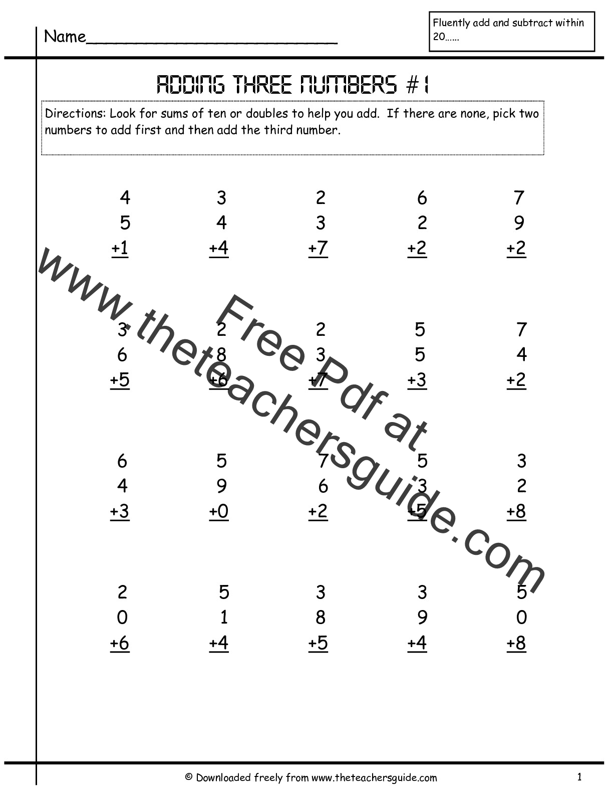 Free Math Printouts from The Teachers Guide – Free 3 Digit Addition and Subtraction Worksheets