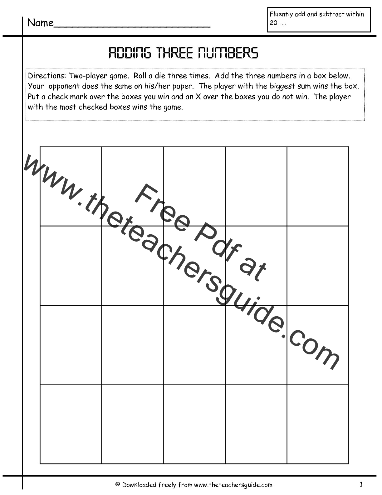 Adding Three Single Digit Numbers Worksheets from The Teachers Guide – Adding 3 Numbers Worksheets