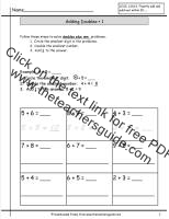 doubles plus one introduction worksheet