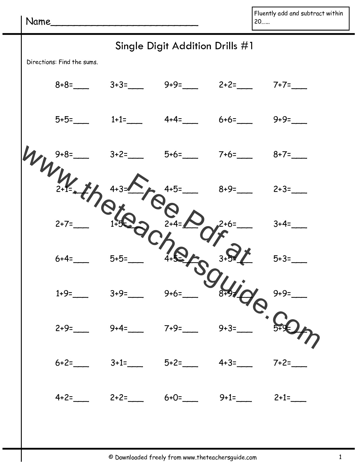 Single Digit Addition Fluency Drills from The Teachers Guide – Addition Drill Worksheets